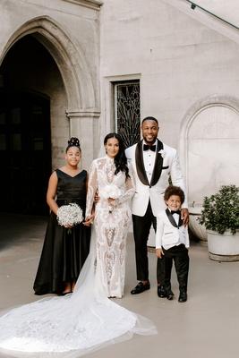 """r&b singer durrell """"tank"""" babbs & zena foster wedding with children, black and white wedding"""