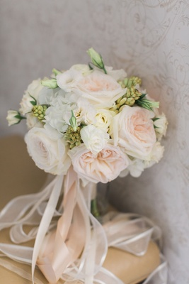 Wedding bride bouquet with pink garden rose and white flowers greenery rosebuds white pink ribbons