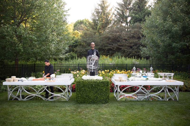 ... Outdoor Backyard Wedding With Cocktail Hour White Silver Bar Ice  Sculputures Boxwood Hedge ...