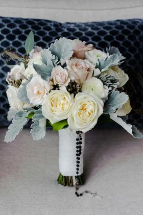 wedding bouquet white garden rose light pink rose dusty miller lamb's ear rosary beads catholic