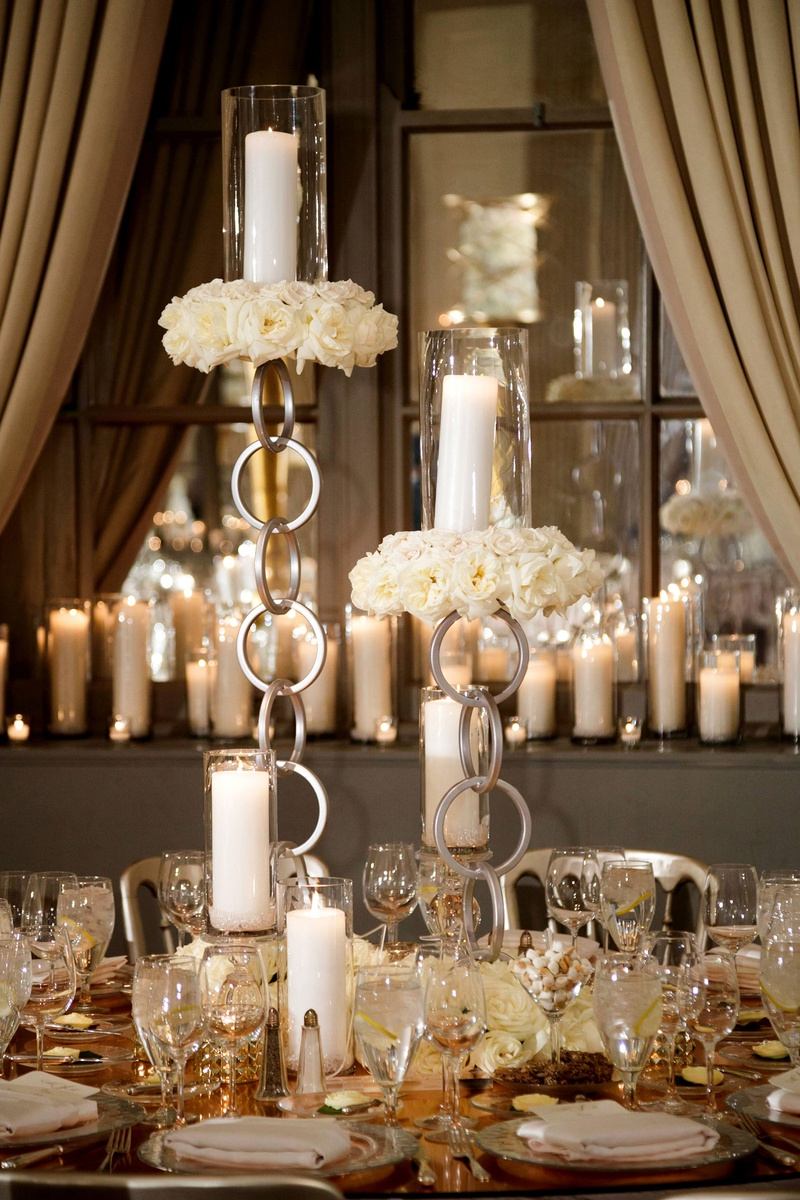 Wedding reception unique modern decor rose gold mirror table with chain candleholder pillar candles