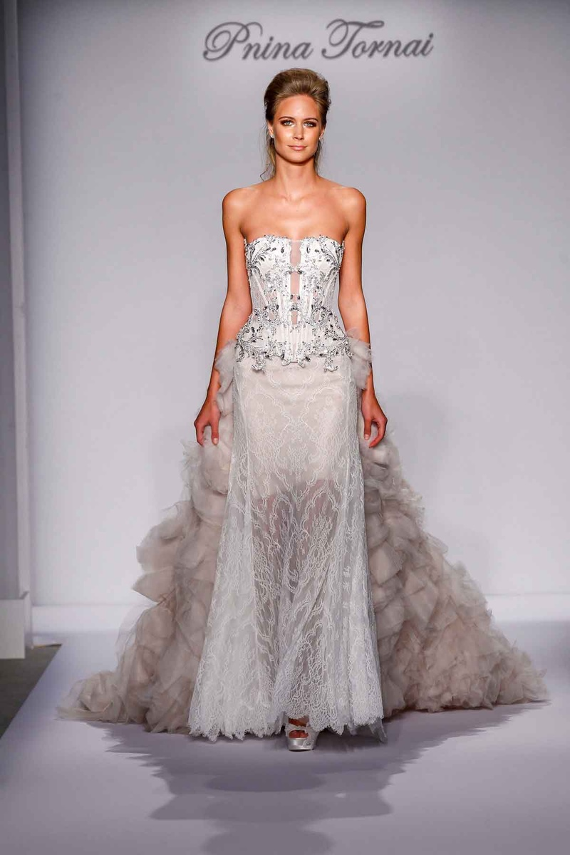Pnina Tornai for Kleinfeld 2016 crystal bodice and lace skirt with detachable ruffle skirt