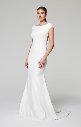 Anne Barge Blue Willow Bride Fall 2018 collection crepe gown with bateau neckline and cap sleeves
