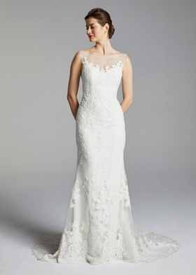 Blue Willow Bride Spring 2019 collection lace gown with bateau illusion neckline