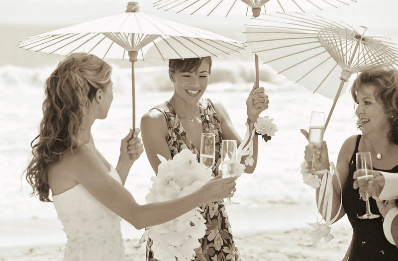 Bride toasts Champagne with female friends
