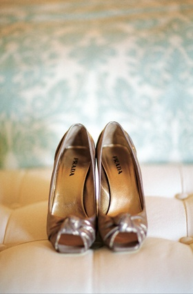 Tan Prada peep toe wedding shoes