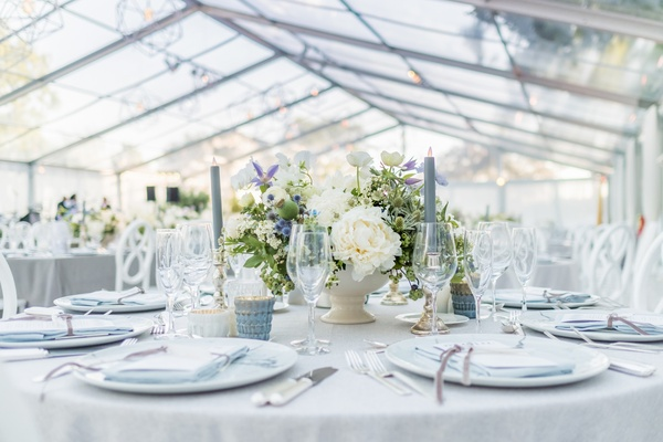 Indoor Ceremony And Tented Reception With Modern, Neutral