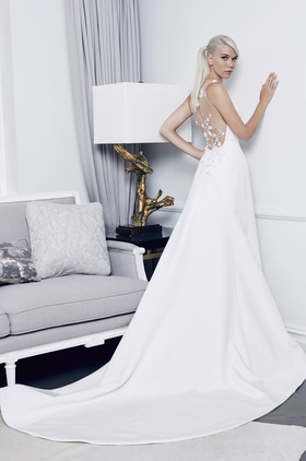 Romona Keveza Fall 2018 bridal collection crepe a-line gown with v neckline and appliques