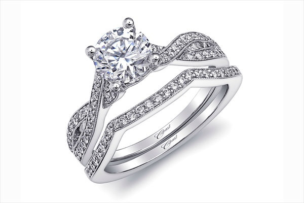 Coast Diamond twist diamond engagement ring and band