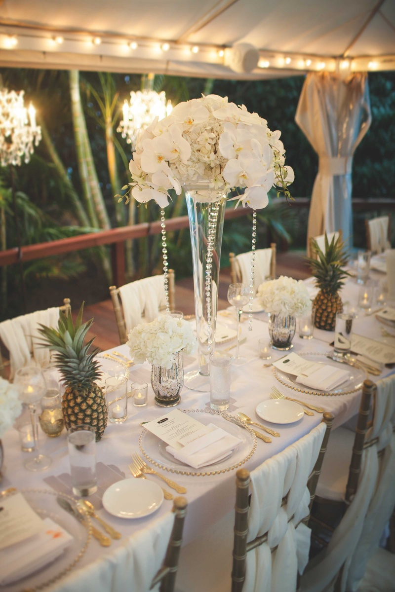 Reception D 233 Cor Photos White Centerpieces Amp Pineapple