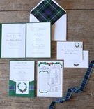 Green, red, blue plaid wedding invitation suite with custom map