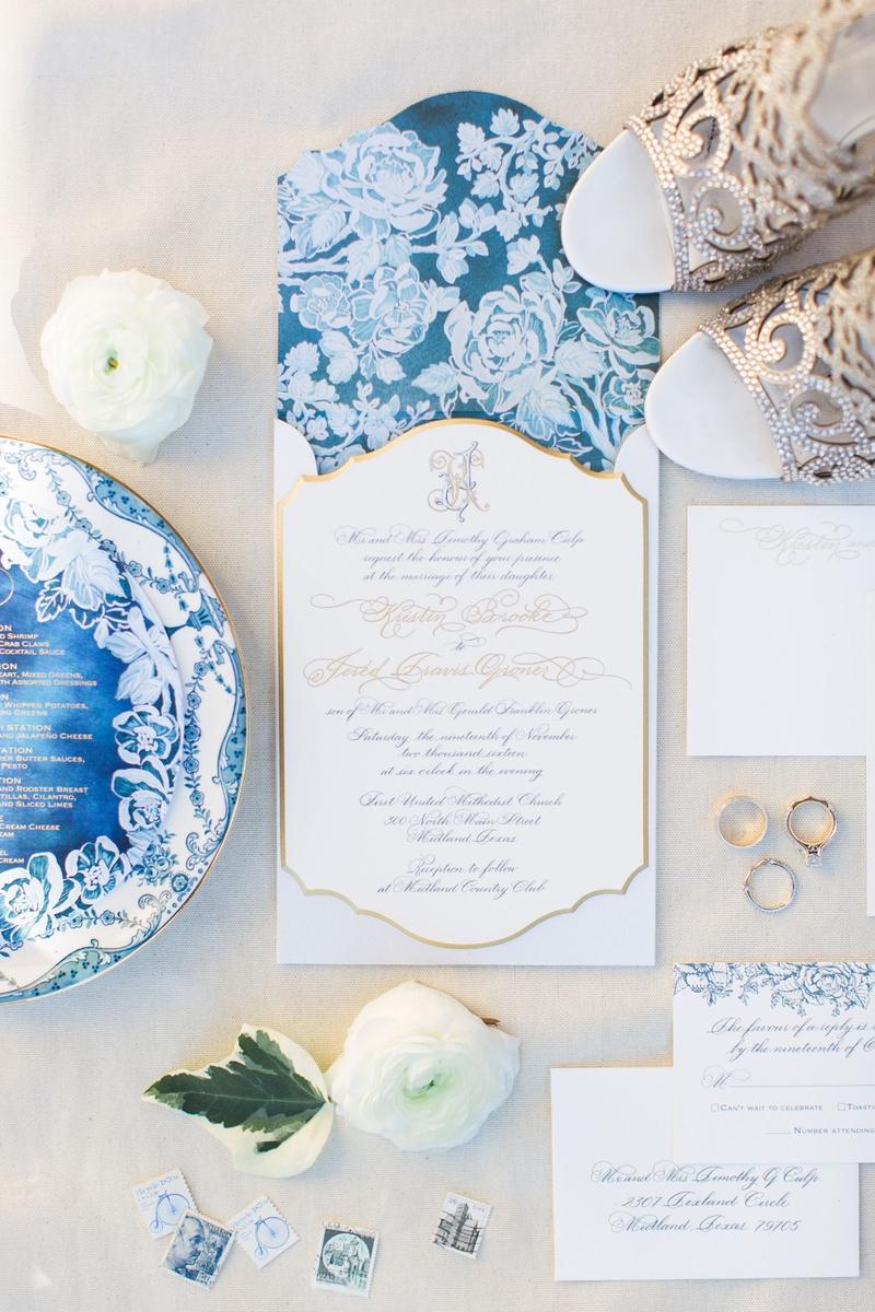Invitations & More Photos - White, Blue & Gold Invitation - Inside ...