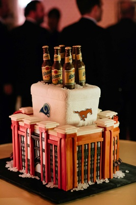 Groom's wedding cake with beer, cooler, and stadium design