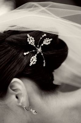 five pointed jeweled hairpiece tucked into updo