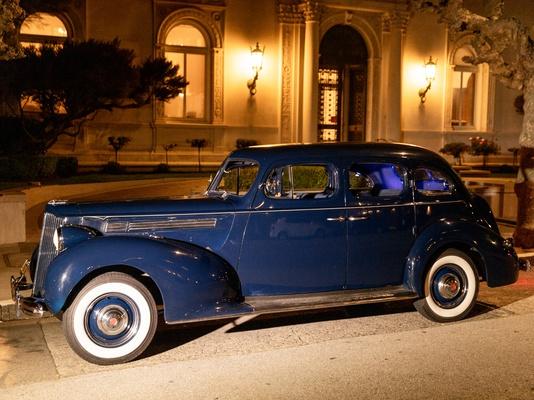 vintage navy blue rolls royce as wedding getaway car