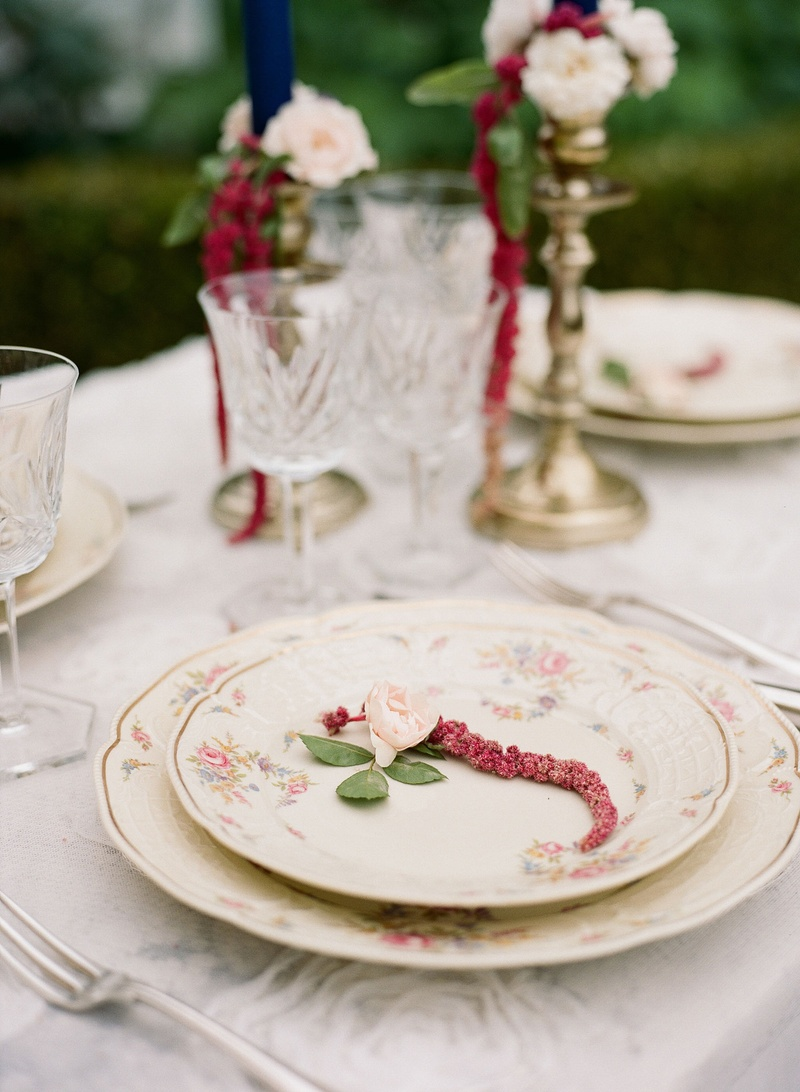 Place setting flower print china dinner salad plate gold candlestick antique glassware
