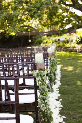 Sycamore tree and petal-lined ceremony aisle