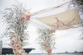 Wedding ceremony san diego chuppah same sex wedding cherry blossom tree pink white flowers hebrew