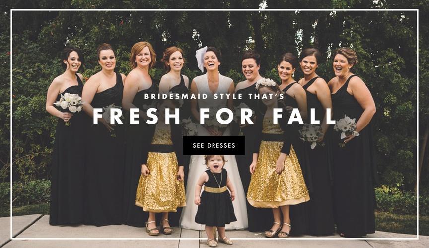 Bridesmaid dress style inspiration for autumn weddings.