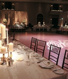 Reception tables surround dance floor