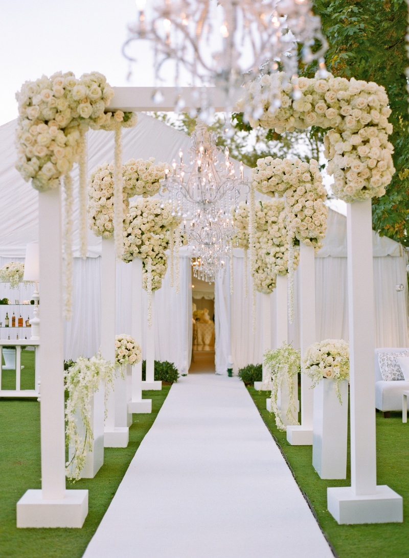 Wedding reception entrance decor - White Arches And Roses On Path To Tent Wedding Reception