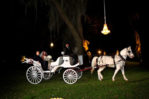 Outdoor Southern wedding at Houmas House Plantation with grand entrance on horsedrawn carriage