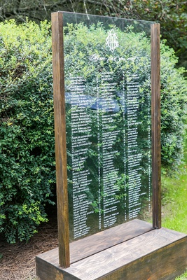 outdoor cocktail hour wedding reception seating chart lucite acrylic white names wood frame