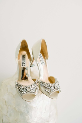 bejeweled champagne colored bridal heels badgley mischka shoes wedding gold reflective maine glam