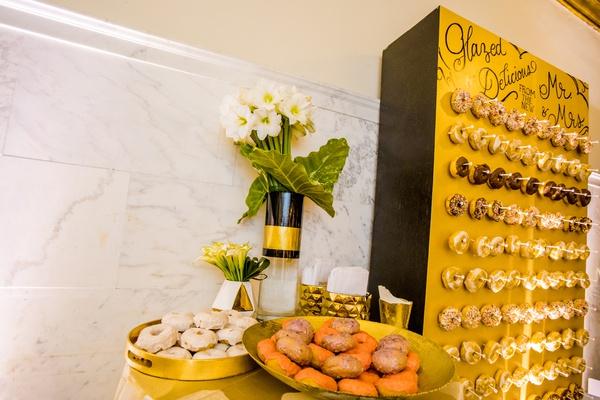 wedding dessert idea, donut wall, gourmet donuts at wedding