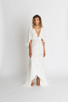 "Alexandra Grecco fall winter 2018 ""The Magic Hour"" wedding dress Sawyer embroidered gown v neck"