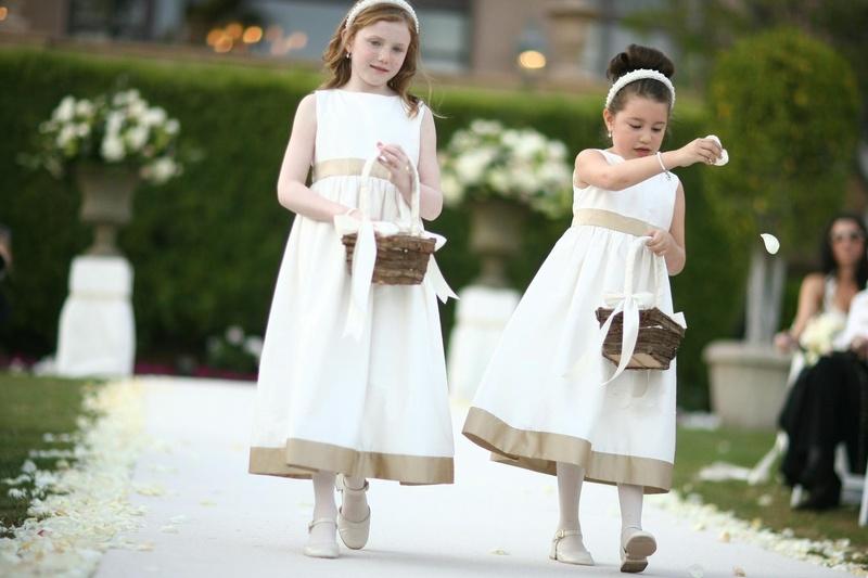 e5216069b5 Flower Girls   Ring Bearers Photos - Gold and White Flower Girl ...