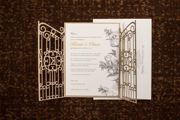 floral, whimsical, garden invitation with gate details