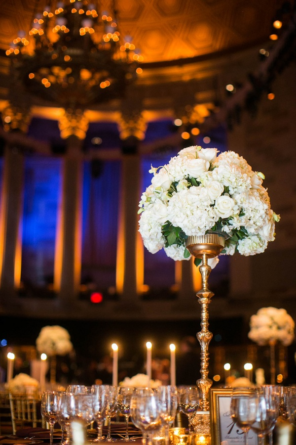 White Rose And Hydrangea Tall Flower Arrangement At Gotham Hall Wedding Reception