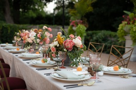 wedding inspiration styled shoot, pale pink, burgundy chair cushions, chameleon chairs