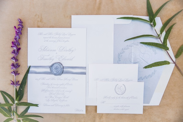 wedding invitation suite formal wedding monogram crest laurel wreath reply card envelope liner