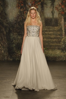 """strapless beaded """"patience"""" dress with beaded bodice by jenny packham"""