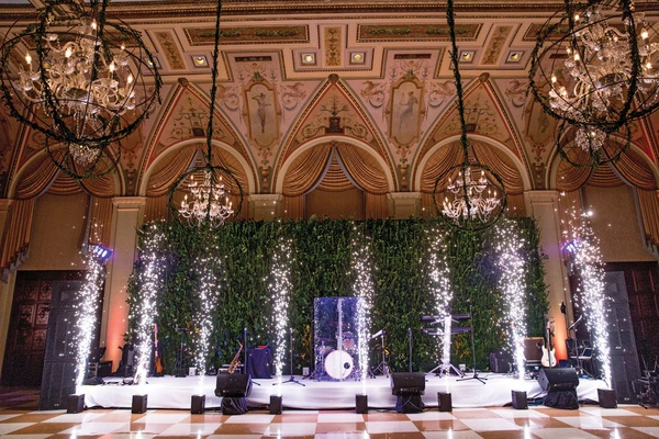 wedding reception at the breakers, indoor fireworks in front of band's stage