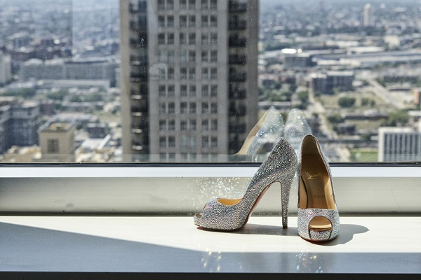 Christian Louboutin shoes and Chicago skyline