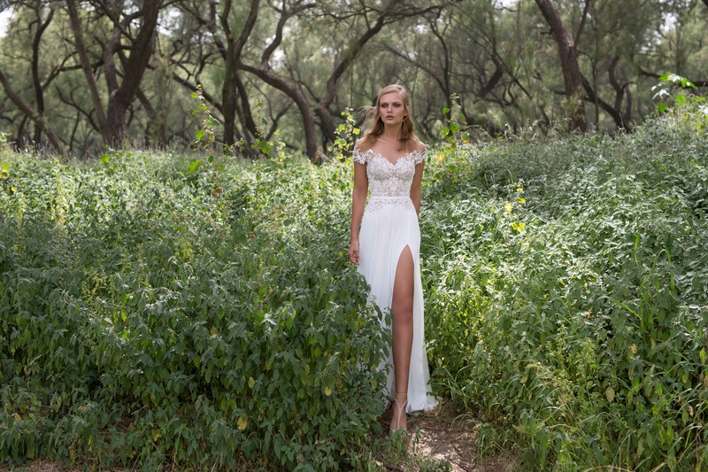 84303c2bca86 Limor Rosen 2017 Iris wedding dress off the shoulder sleeves with slit  skirt Birds of Paradise.