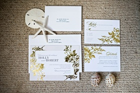 Gold foil wedding invitation suite with white envelope and calligraphy