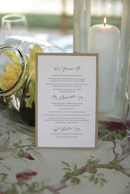 Rehearsal dinner Italian menu card with calligraphy and watercolor