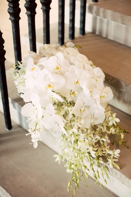 bridal bouquet of cascading bouquet of white phaelenopsis orchids