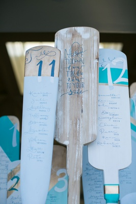 ocean themed wedding, seating chart made of mini oars