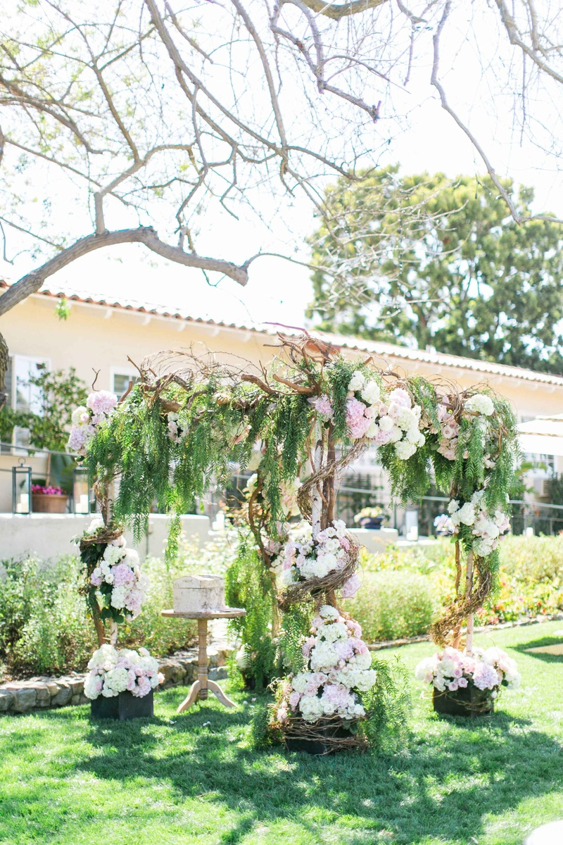 wedding destinations in new jersey%0A     Wedding ceremony structure with birch tree  wraparound vines   greenery  and white