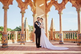 bride in pronovias gown with lace bodice, crepe skirt, groom in tuxedo, ca d'van wedding
