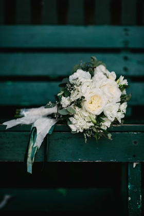 white green floral bouquet ribbons leaves peonies green bench maine wedding