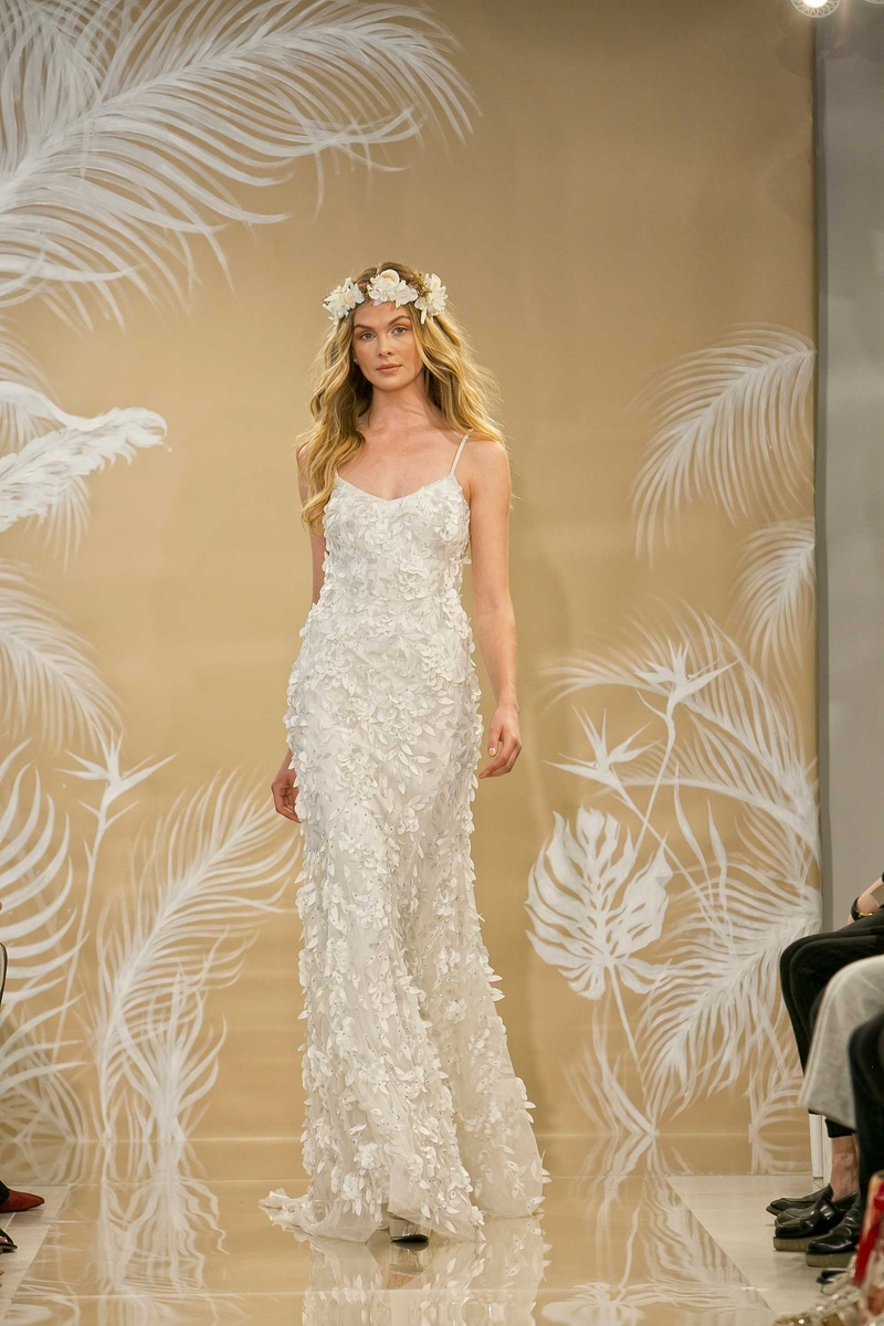 ab61dc0ad9c THEIA Fall 2017 Maya hand embroidered slip flowers laser cut petals leaves  swarovski crystals.