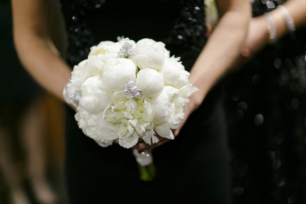 bridesmaid bouquet with white peonies, pearl and crystal embellishments
