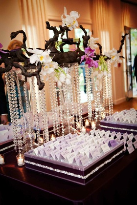 Oak branch with orchids and crystal strands over escort cards