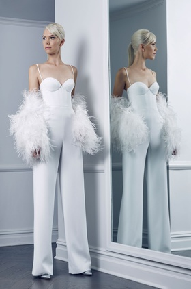 Romona Keveza Fall 2018 bridal collection crepe jumpsuit with spaghetti straps